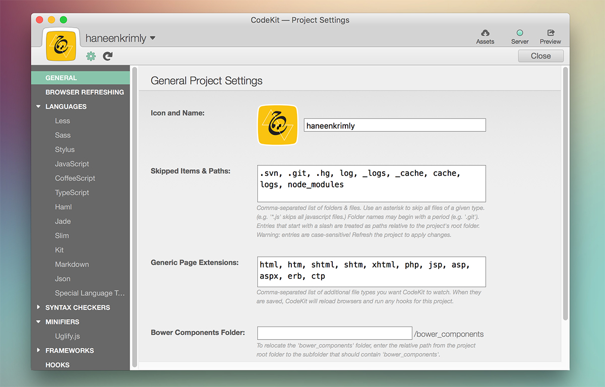 CodeKit App Preferences for Mac OS X
