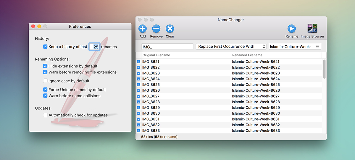 NameChanger App Preferences for Mac OS X