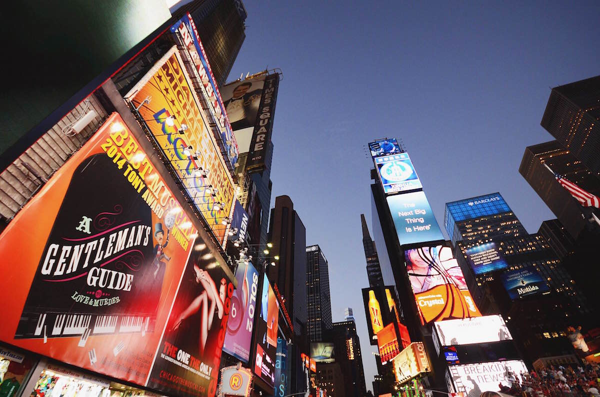 A photograph of Time Square at night - NYC 2014
