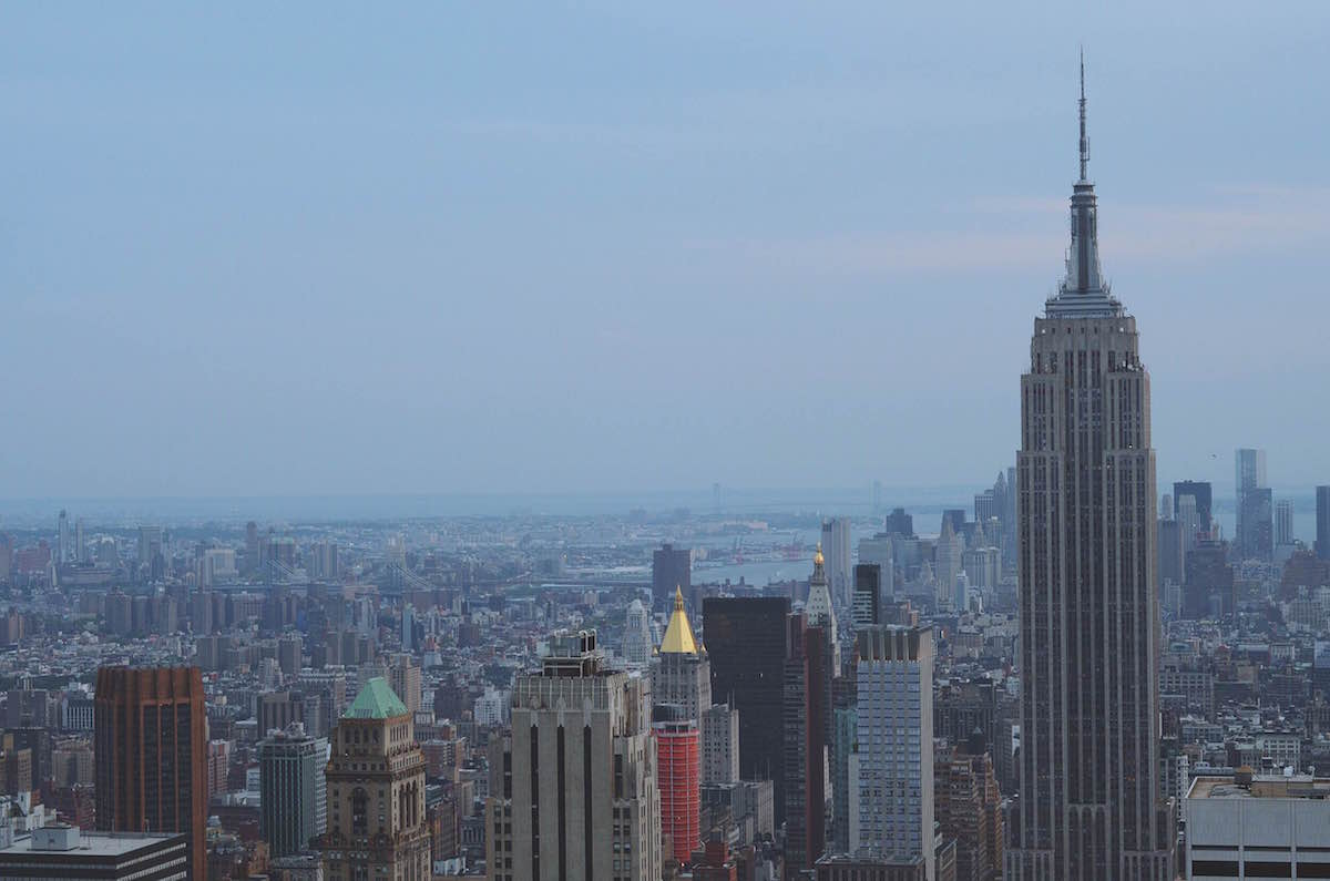 A photo taken at the top of The Rock building showing The Empire State Building – NYC 2014