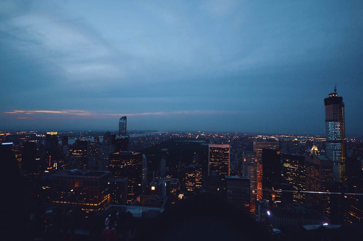 A photo taken at the top of The Rock building showing New York City at night – NYC 2014