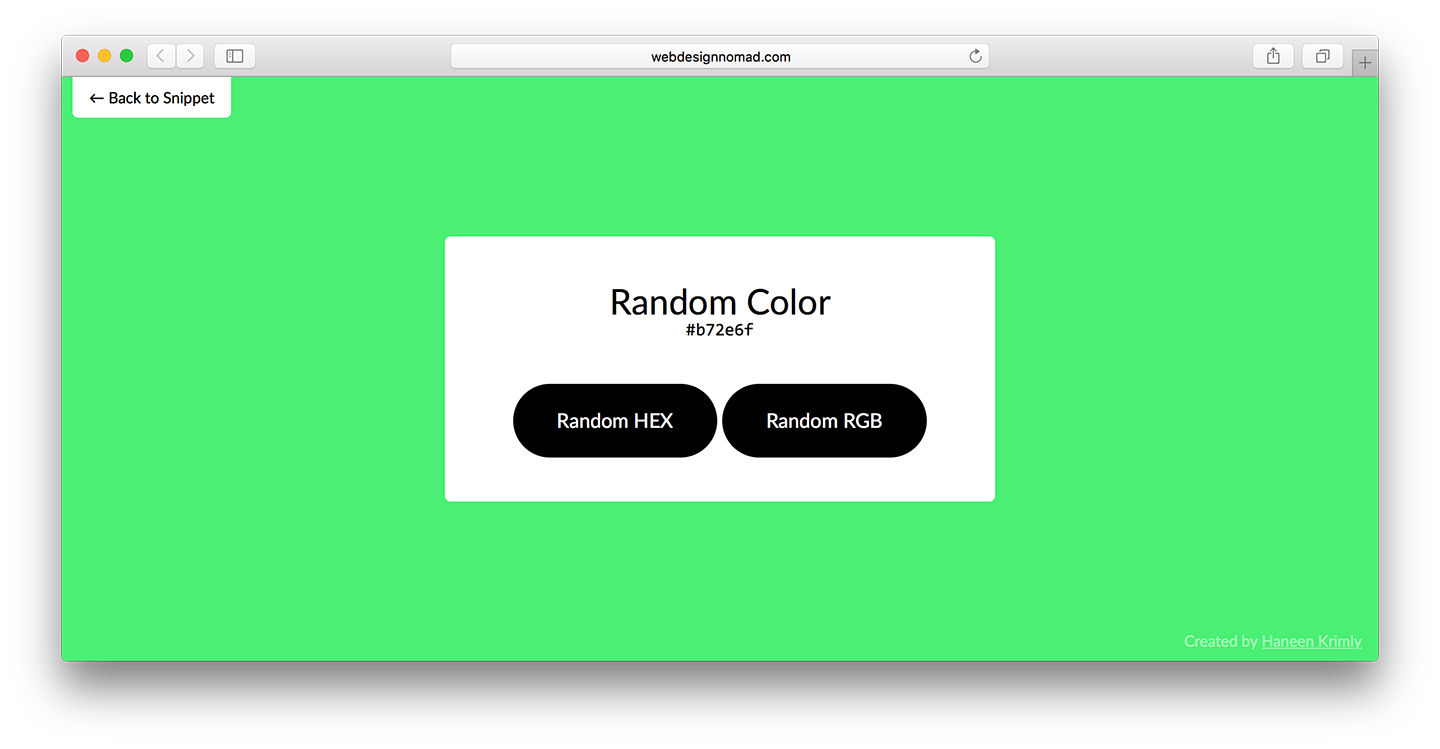 A Random Color Generator using JS by Haneen Krimly