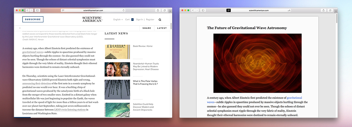 Safari App Reader Mode for Mac OS X